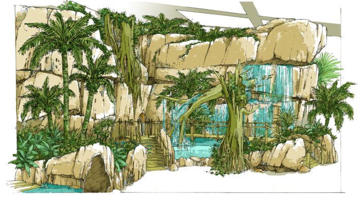 Theme park design with a waterfall